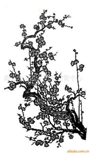 中国画梅花剪纸步骤图
