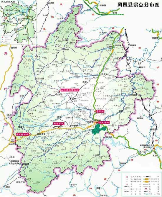 凤凰景点分布图-湘西114旅游服务网|湘西旅游|湘西|社