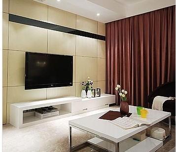 电视背景墙用白橡木板铺设而成,简洁而又自然的感觉,让小户型