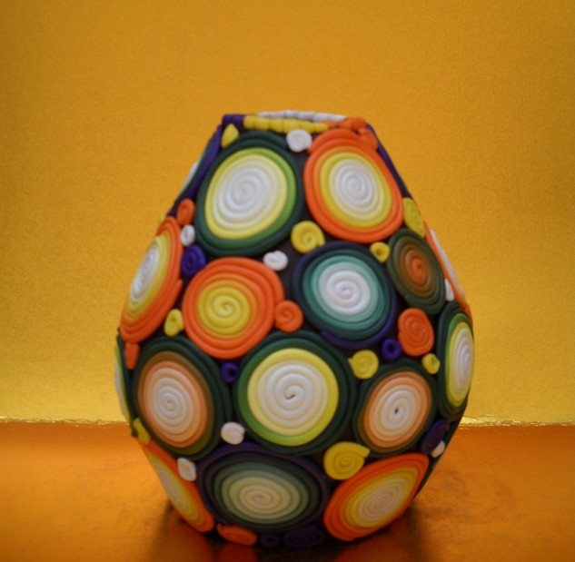 软陶时尚工艺品 手工彩陶花瓶 家居工艺品