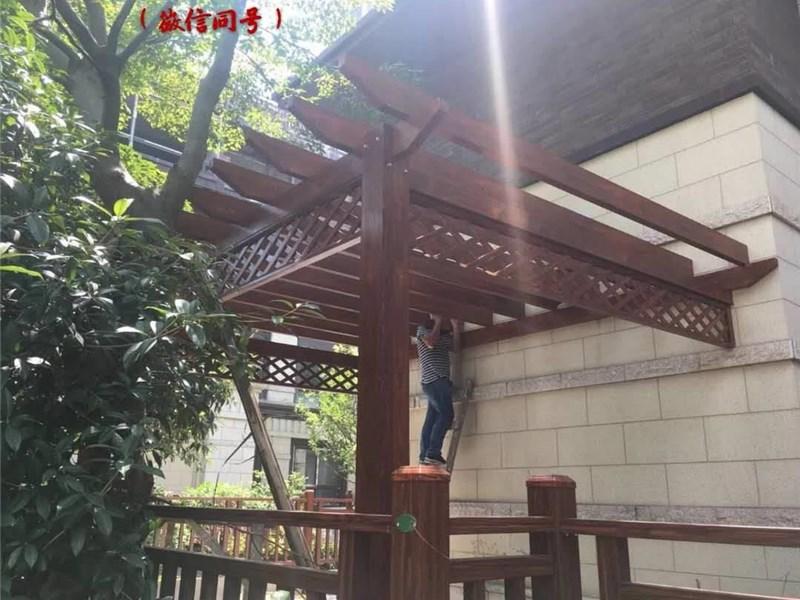 露台仿木铝合金葡萄架打印,高档别墅图纸铝合cad变搭建啦突然花园淡图片