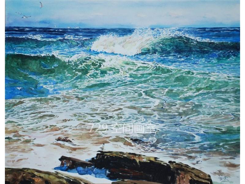 水彩画 大海
