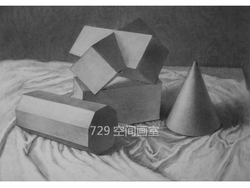 素描石膏几何体写生