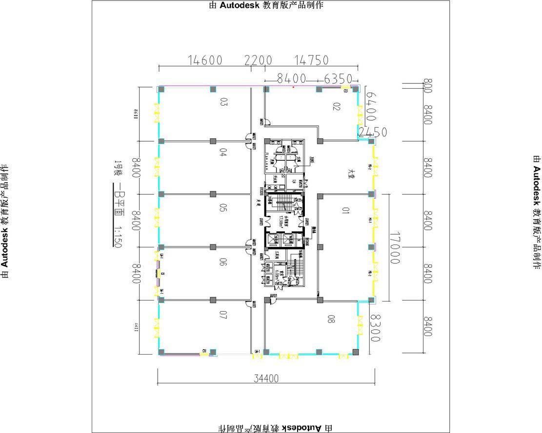 6米,三层层高为3.3米,四到16层层高各为2.8米,面积各层为640平米.