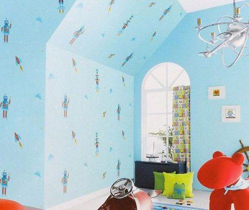 墙纸装修效果图:可爱卡通图案儿童房,天蓝的格调.