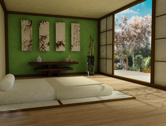 素雅的色彩总是给一种放松的感觉,处在这样的环境中,使人们整个身心都得到彻底地放松。这个卧室以原木色为主色调,采用天然的材料,木质的地板搭配木质的家具,墙面也采用了带有木纹条理墙面,使整个空间都散发着清新的自然之气。绿色是最接近自然的色彩,在卧室中加入绿色使整个空间都散发着一种自然的气息,让整个氛围更贴近自然。榻榻米的床垫,使这个卧室设计具有一种和式的感觉。绿色的墙面上挂上四幅水墨画,将卧室的沉静之感凸显了出来。打开移门,将门外的阳光都照射进来,感受大自然的清新。