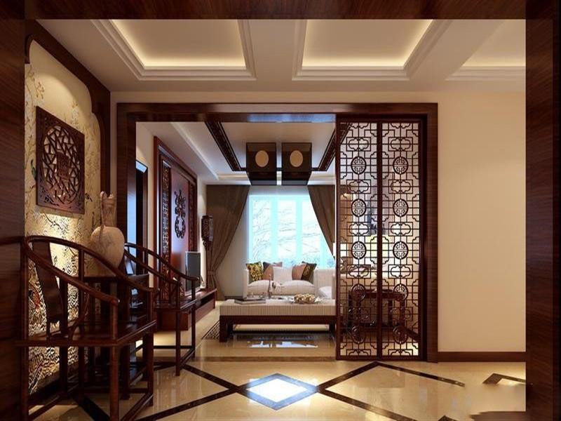 对房屋的需求就是居家舒适度第一位,对传统的中式元素有着深厚的情节,风格定位为舒适度较佳的简约中式风格,客厅里不做过多复杂的传统中式造型,用局部木作及木线来画龙点睛,再加上地面传统的回字纹元素圈边和吊灯的款式把中式的氛围烘托出来,家具采用舒适感较强的布艺沙发, 卧室里采用胡桃色实木地板,亚麻质感的墙纸与实木的中式家具营造稳重大方的私密卧室空间。门厅做了端景的造型处理使过于冗长的过道空间有情趣感,同时用地面拼花及吊顶做了区域的划分,定制柜体满足了门厅换鞋帽的生活功能需求,休闲室中运用了升降式的榻榻米来起到了一