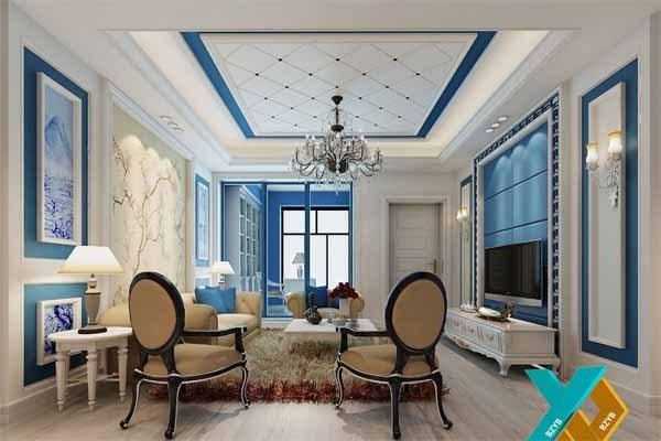 """(巴中装饰公司-巴中榆槟装饰) 上面的设计采用了""""地中海风格"""",白灰泥墙、海蓝色的屋瓦和门窗。设计元素贯穿其中的风格灵魂。地中海风格的灵魂,目前比较一致的看法就是""""蔚蓝色的浪漫情怀,海天一色、艳阳高照的纯美自然""""。 地中海风格""""对中国城市家居的最大魅力,恐怕来自其纯美的色彩组合。 西班牙蔚蓝色的海岸与白色沙滩,希腊的白色村庄在碧海蓝天下简直是制造梦幻,南意大利的向日葵花田流淌在阳光下的金黄、法国南部薰衣草飘来的蓝紫色香气、北非特有沙漠及岩石等自然"""