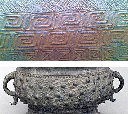 谈谈金银币上不同时期青铜器纹饰的表现手法